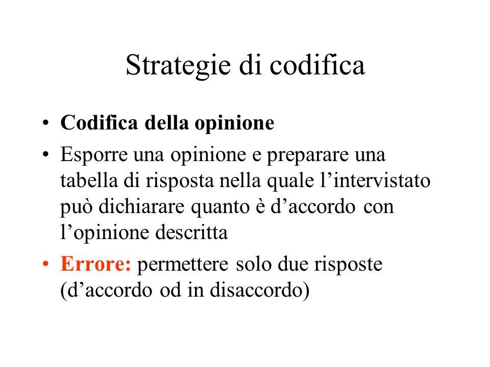 Strategie di codifica Codifica della opinione Esporre una opinione e preparare una tabella di risposta nella quale lintervistato può dichiarare quanto