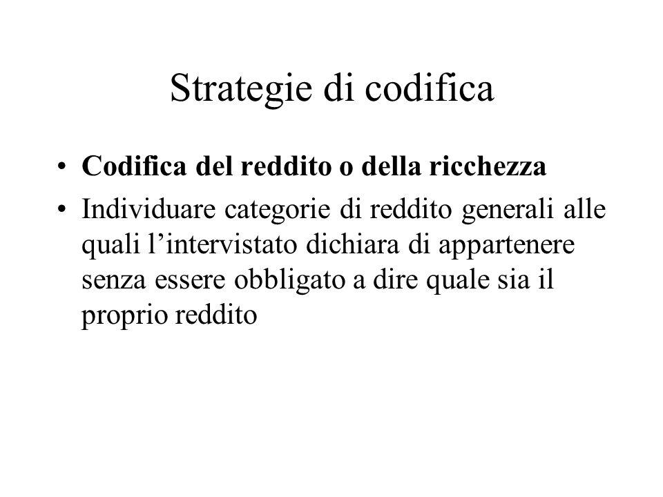 Strategie di codifica Codifica del reddito o della ricchezza Individuare categorie di reddito generali alle quali lintervistato dichiara di appartener