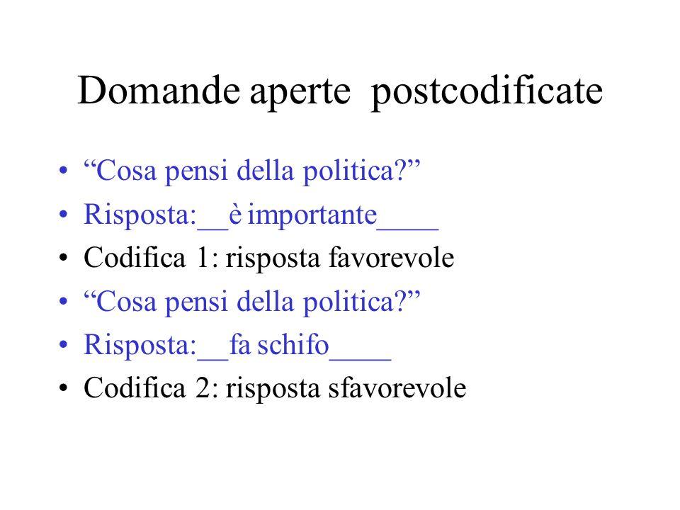 Domande aperte postcodificate Cosa pensi della politica? Risposta:__è importante____ Codifica 1: risposta favorevole Cosa pensi della politica? Rispos