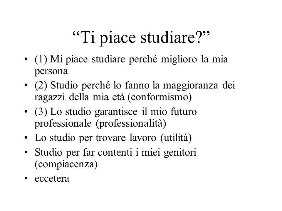 Ti piace studiare? (1) Mi piace studiare perché miglioro la mia persona (2) Studio perché lo fanno la maggioranza dei ragazzi della mia età (conformis