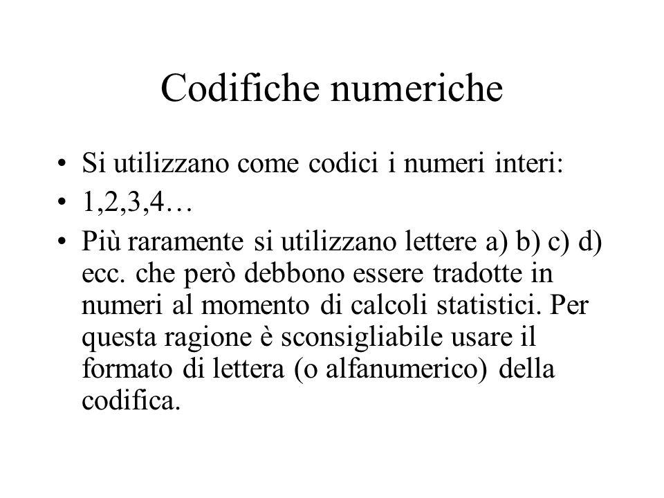 Codifiche numeriche Si utilizzano come codici i numeri interi: 1,2,3,4… Più raramente si utilizzano lettere a) b) c) d) ecc. che però debbono essere t