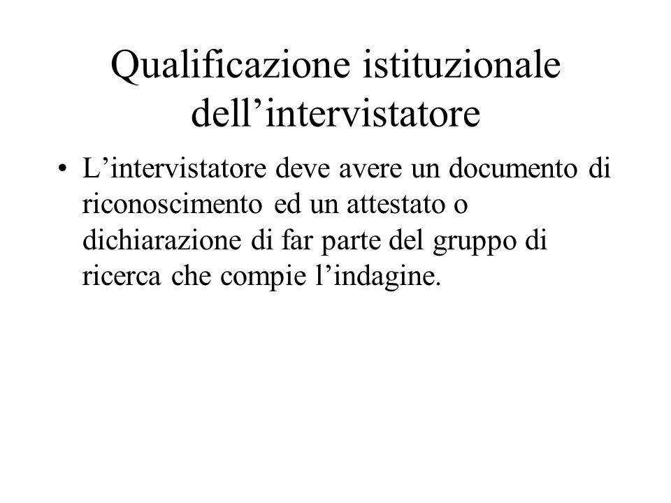 Qualificazione istituzionale dellintervistatore Lintervistatore deve avere un documento di riconoscimento ed un attestato o dichiarazione di far parte del gruppo di ricerca che compie lindagine.
