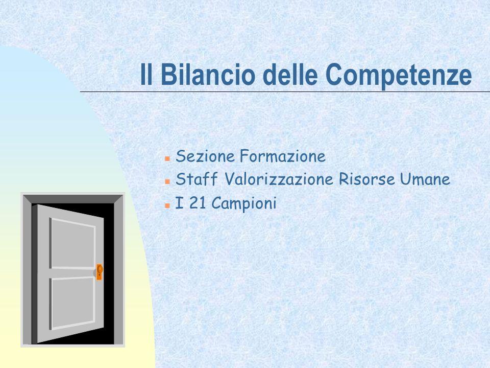 Il Bilancio delle Competenze Sezione Formazione n Staff Valorizzazione Risorse Umane I 21 Campioni
