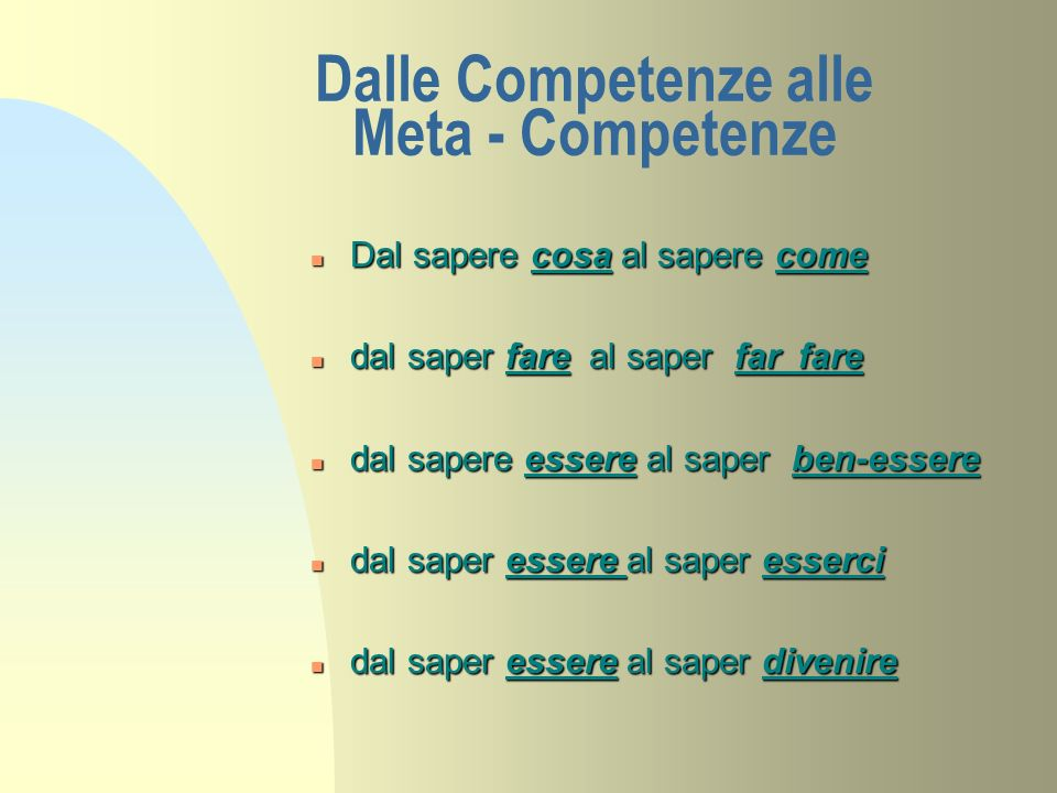Dalle Competenze alle Meta - Competenze n Dal sapere cosa al sapere come n dal saper fare al saper far fare n dal sapere essere al saper ben-essere n