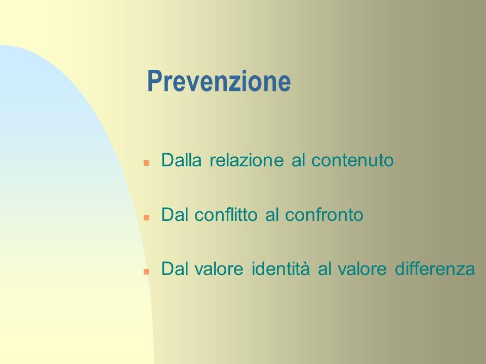 Prevenzione n Dalla relazione al contenuto n Dal conflitto al confronto n Dal valore identità al valore differenza