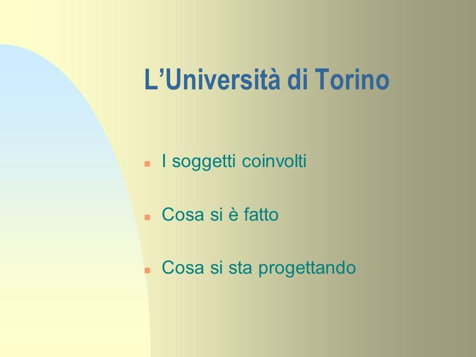 LUniversità di Torino n I soggetti coinvolti n Cosa si è fatto n Cosa si sta progettando