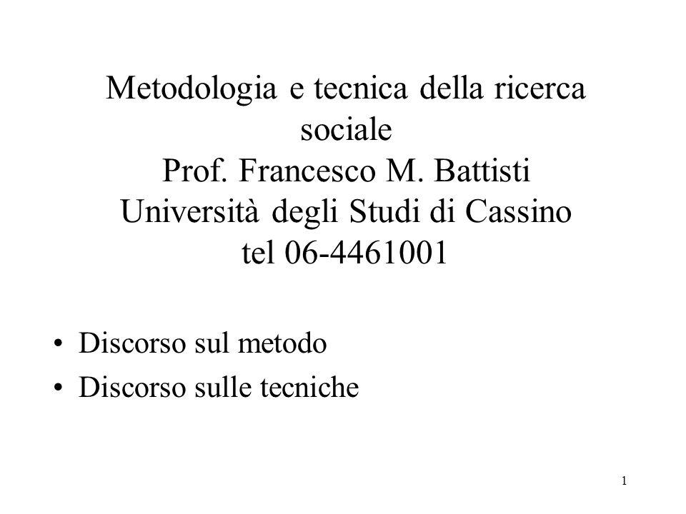 1 Metodologia e tecnica della ricerca sociale Prof. Francesco M. Battisti Università degli Studi di Cassino tel 06-4461001 Discorso sul metodo Discors