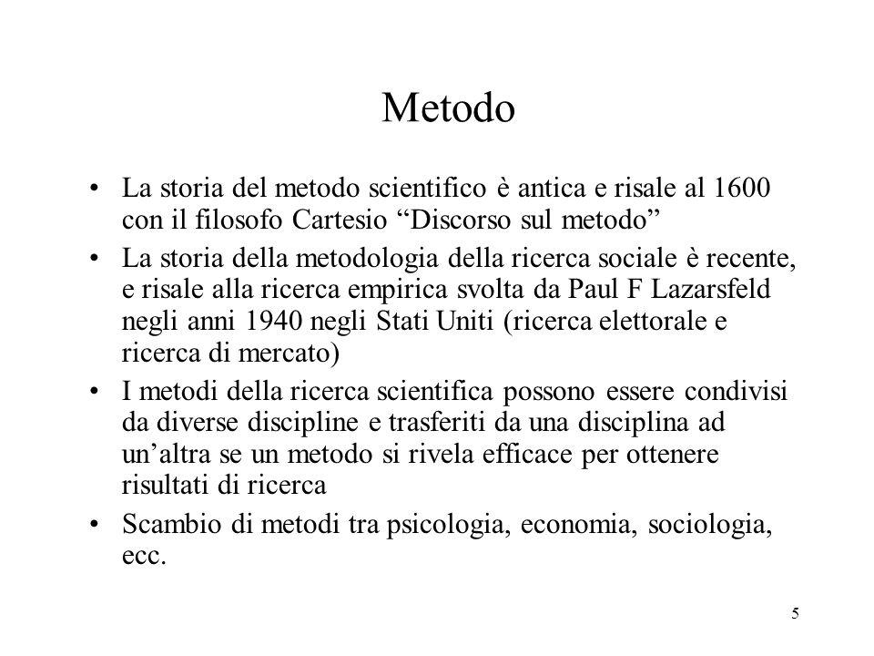 5 Metodo La storia del metodo scientifico è antica e risale al 1600 con il filosofo Cartesio Discorso sul metodo La storia della metodologia della ric