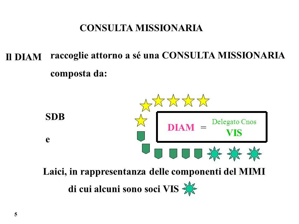 Il DIAM e raccoglie attorno a sé una CONSULTA MISSIONARIA composta da: SDB Laici, in rappresentanza delle componenti del MIMI di cui alcuni sono soci