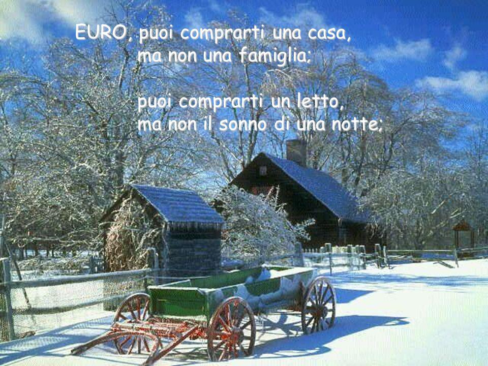 EURO, puoi comprarti una casa, EURO, puoi comprarti una casa, ma non una famiglia; ma non una famiglia; puoi comprarti un letto, puoi comprarti un letto, ma non il sonno di una notte; ma non il sonno di una notte;