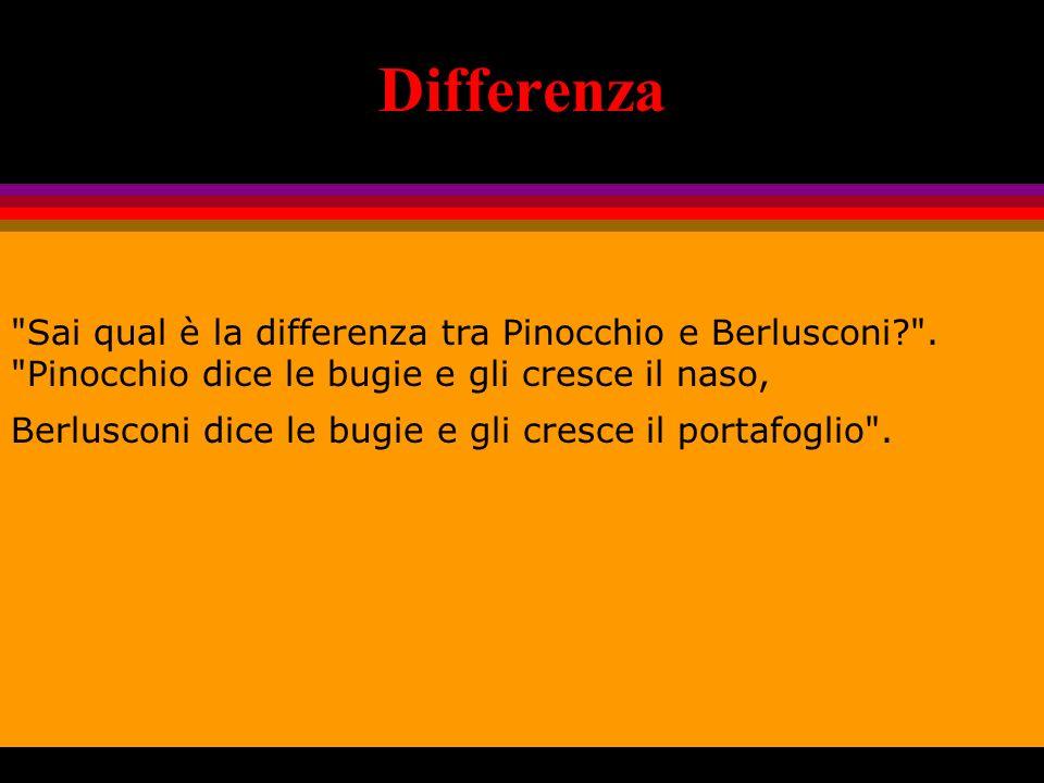 Differenza Sai qual è la differenza tra Pinocchio e Berlusconi? .