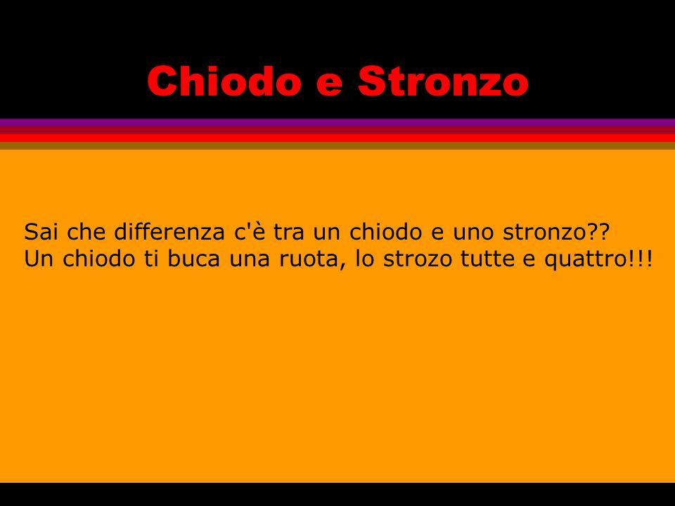 Chiodo e Stronzo Sai che differenza c è tra un chiodo e uno stronzo?.