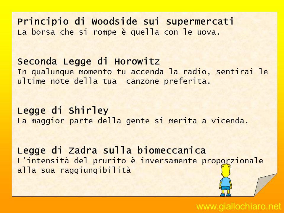 www.giallochiaro.net Principio di Woodside sui supermercati La borsa che si rompe è quella con le uova. Seconda Legge di Horowitz In qualunque momento
