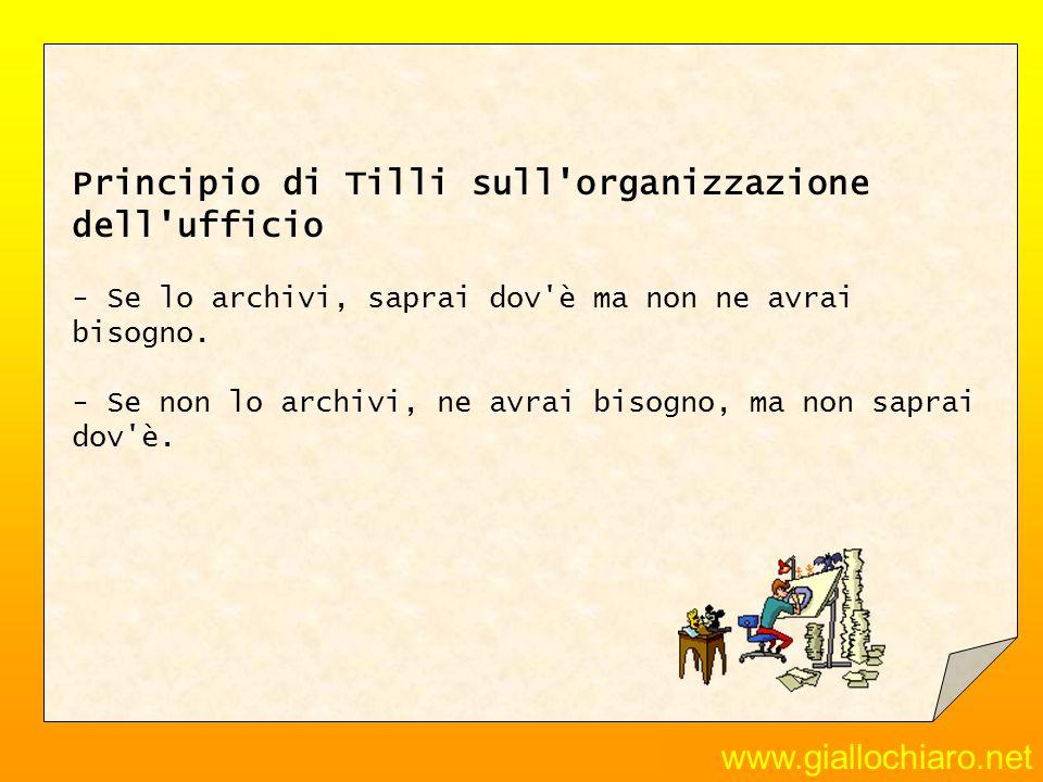 www.giallochiaro.net Principio di Tilli sull'organizzazione dell'ufficio - Se lo archivi, saprai dov'è ma non ne avrai bisogno. - Se non lo archivi, n