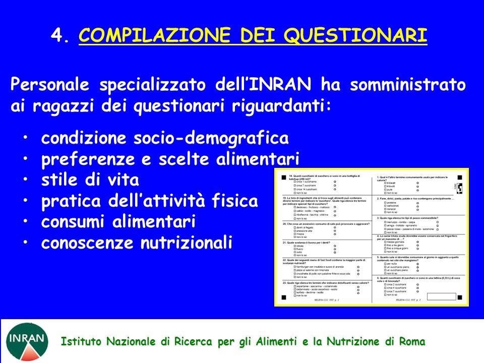 Istituto Nazionale di Ricerca per gli Alimenti e la Nutrizione di Roma 4. COMPILAZIONE DEI QUESTIONARI Personale specializzato dellINRAN ha somministr