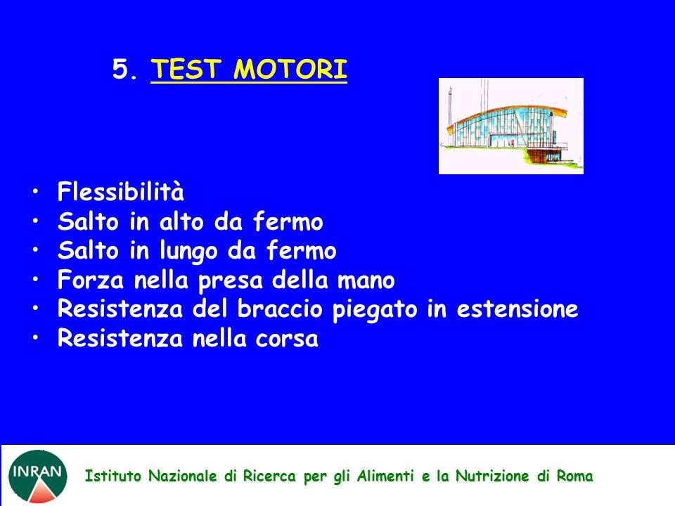 Istituto Nazionale di Ricerca per gli Alimenti e la Nutrizione di Roma 5. TEST MOTORI Flessibilità Salto in alto da fermo Salto in lungo da fermo Forz