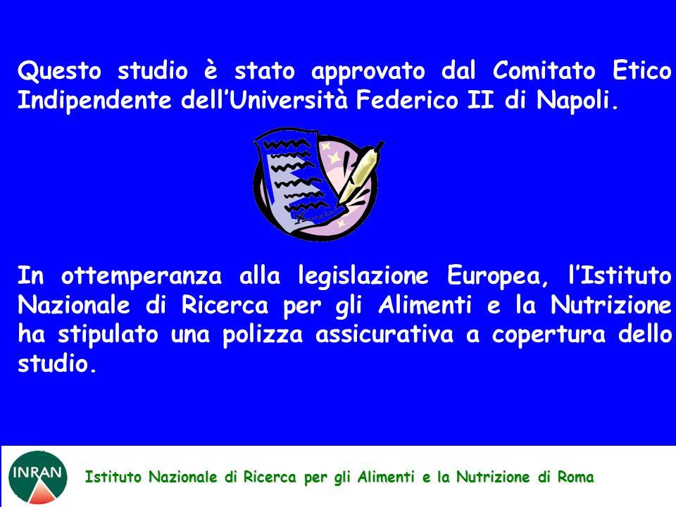 Istituto Nazionale di Ricerca per gli Alimenti e la Nutrizione di Roma Questo studio è stato approvato dal Comitato Etico Indipendente dellUniversità