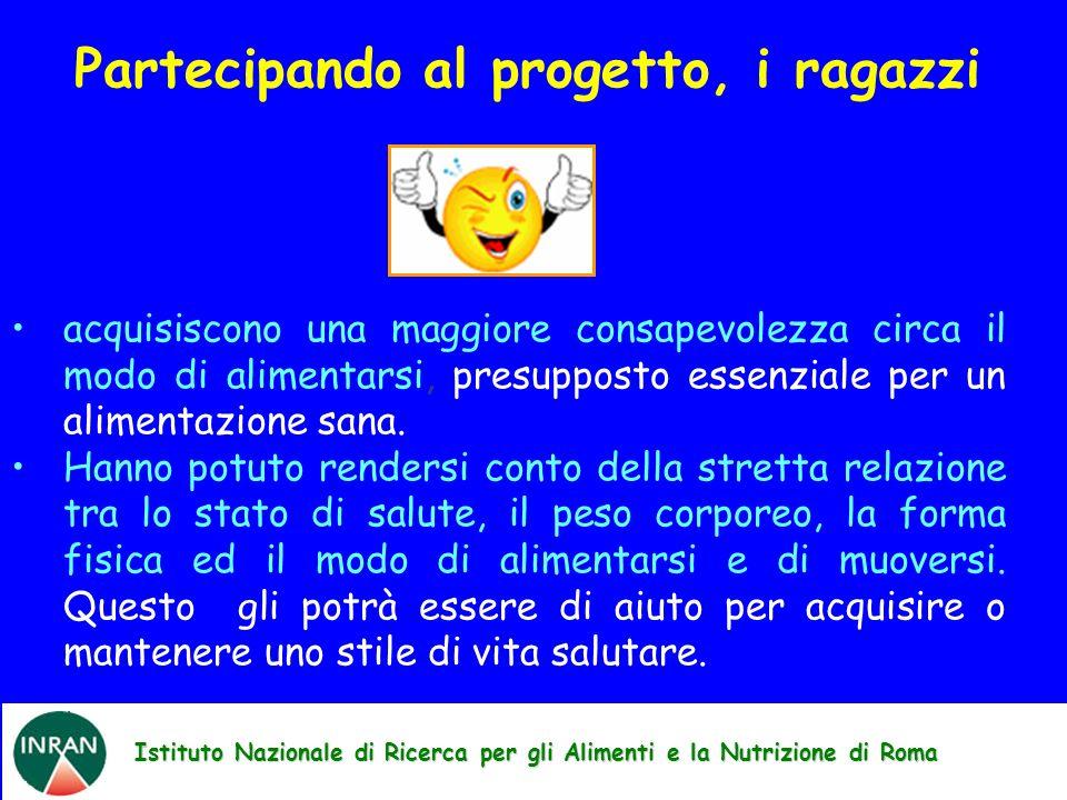Istituto Nazionale di Ricerca per gli Alimenti e la Nutrizione di Roma Partecipando al progetto, i ragazzi acquisiscono una maggiore consapevolezza ci