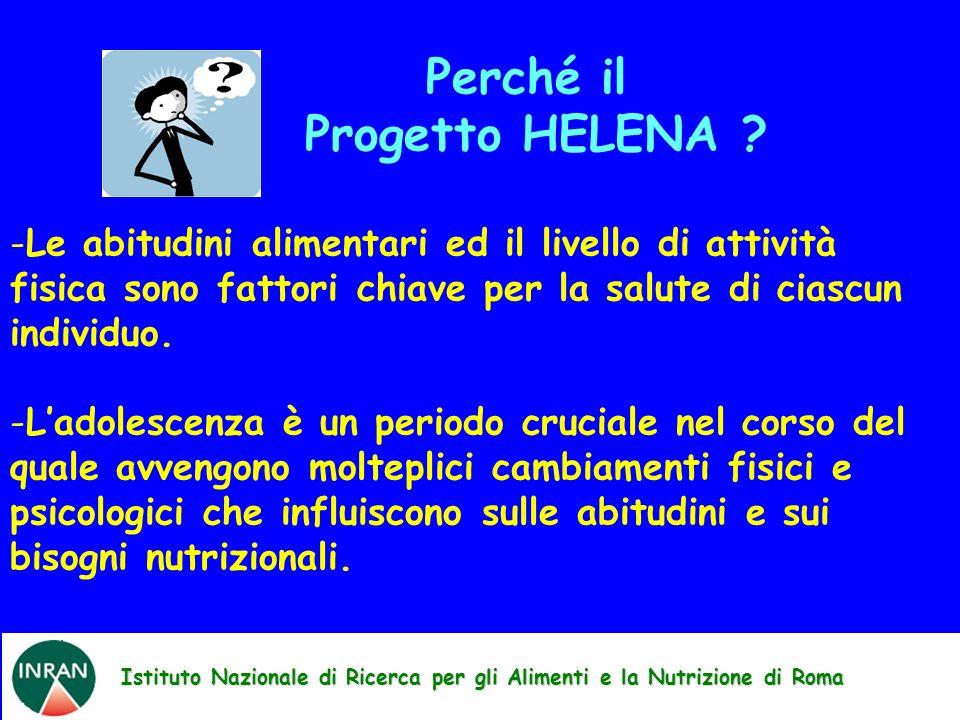 Istituto Nazionale di Ricerca per gli Alimenti e la Nutrizione di Roma Perché il Progetto HELENA ? -Le abitudini alimentari ed il livello di attività