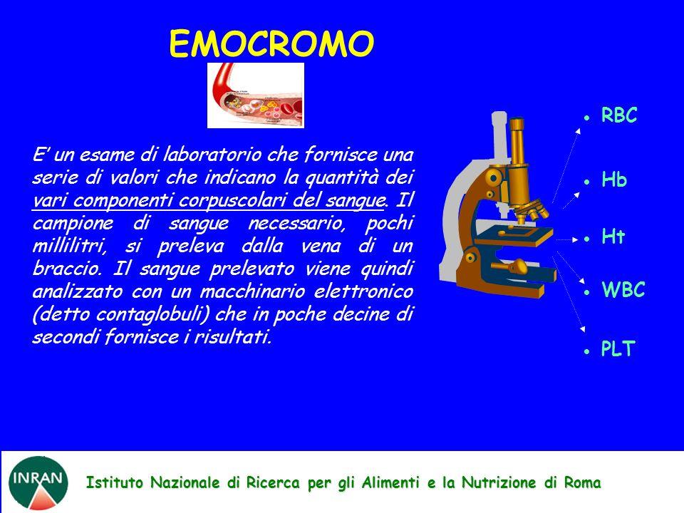 Istituto Nazionale di Ricerca per gli Alimenti e la Nutrizione di Roma E un esame di laboratorio che fornisce una serie di valori che indicano la quantità dei vari componenti corpuscolari del sangue.