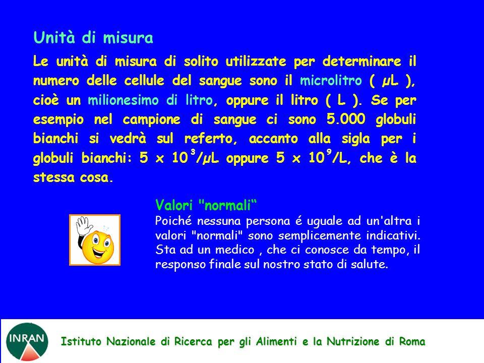 Istituto Nazionale di Ricerca per gli Alimenti e la Nutrizione di Roma Unità di misura Le unità di misura di solito utilizzate per determinare il numero delle cellule del sangue sono il microlitro ( µL ), cioè un milionesimo di litro, oppure il litro ( L ).