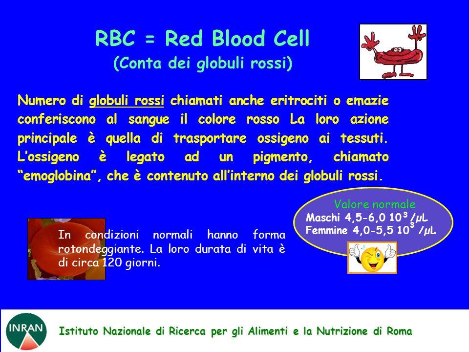 Istituto Nazionale di Ricerca per gli Alimenti e la Nutrizione di Roma RBC = Red Blood Cell (Conta dei globuli rossi) Numero di globuli rossi chiamati anche eritrociti o emazie conferiscono al sangue il colore rosso La loro azione principale è quella di trasportare ossigeno ai tessuti.
