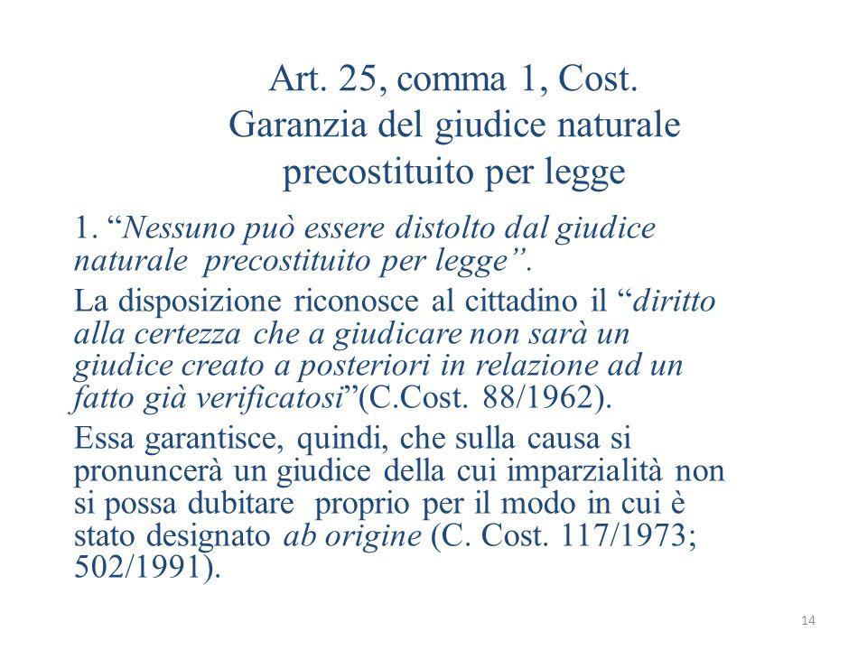 14 Art. 25, comma 1, Cost. Garanzia del giudice naturale precostituito per legge 1. Nessuno può essere distolto dal giudice naturale precostituito per