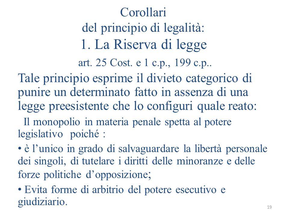 19 Corollari del principio di legalità: 1. La Riserva di legge art. 25 Cost. e 1 c.p., 199 c.p.. Tale principio esprime il divieto categorico di punir
