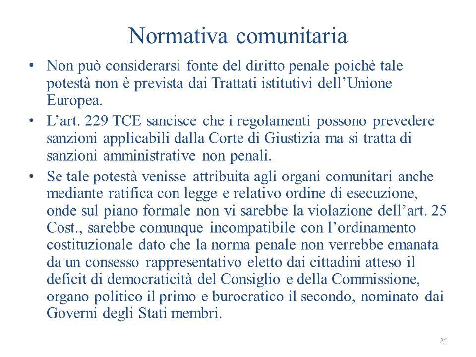 21 Normativa comunitaria Non può considerarsi fonte del diritto penale poiché tale potestà non è prevista dai Trattati istitutivi dellUnione Europea.