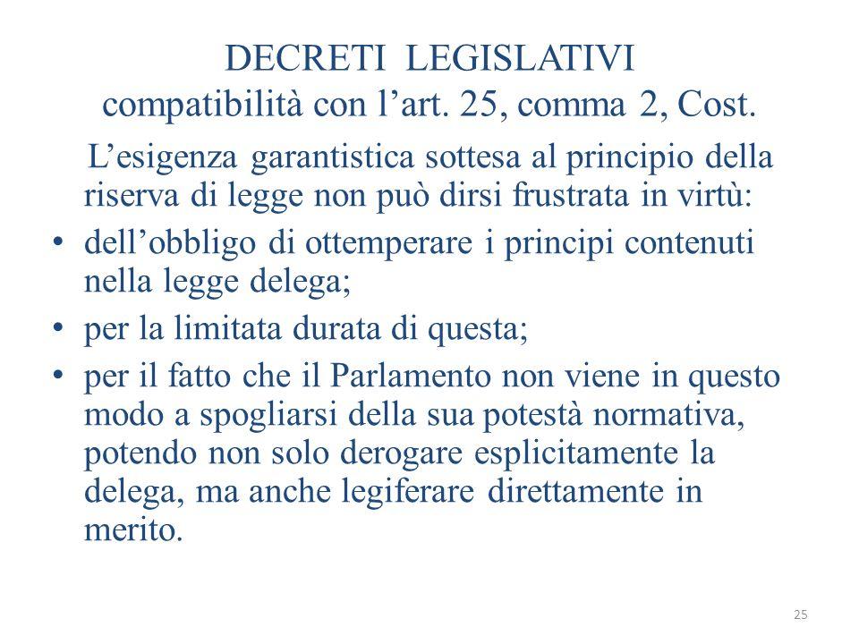 25 DECRETI LEGISLATIVI compatibilità con lart. 25, comma 2, Cost. Lesigenza garantistica sottesa al principio della riserva di legge non può dirsi fru