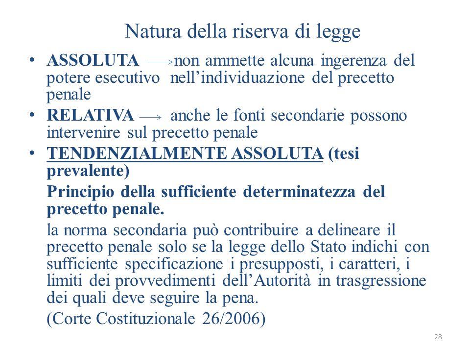 28 Natura della riserva di legge ASSOLUTA non ammette alcuna ingerenza del potere esecutivo nellindividuazione del precetto penale RELATIVA anche le f