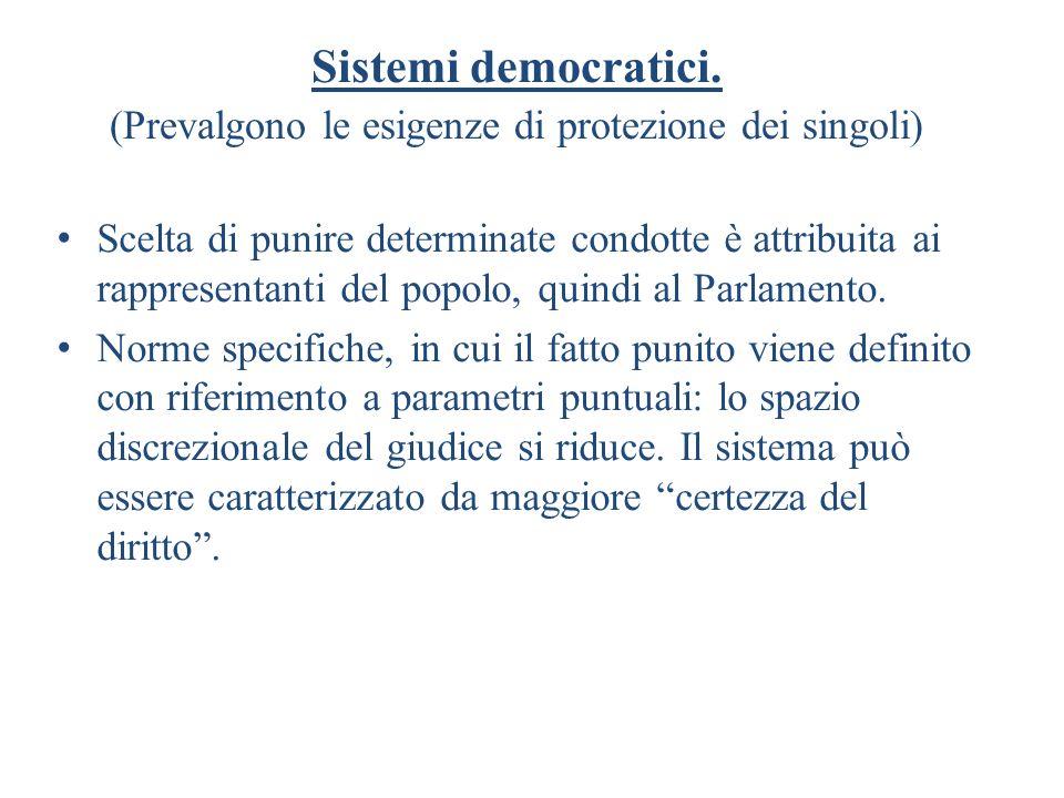 Sistemi democratici. (Prevalgono le esigenze di protezione dei singoli) Scelta di punire determinate condotte è attribuita ai rappresentanti del popol