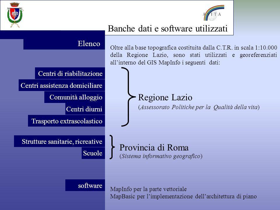 Banche dati e software utilizzati Elenco software MapInfo per la parte vettoriale MapBasic per limplementazione dellarchitettura di piano Oltre alla base topografica costituita dalla C.T.R.