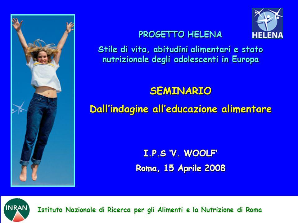 Istituto Nazionale di Ricerca per gli Alimenti e la Nutrizione di Roma PROGETTO HELENA Stile di vita, abitudini alimentari e stato nutrizionale degli