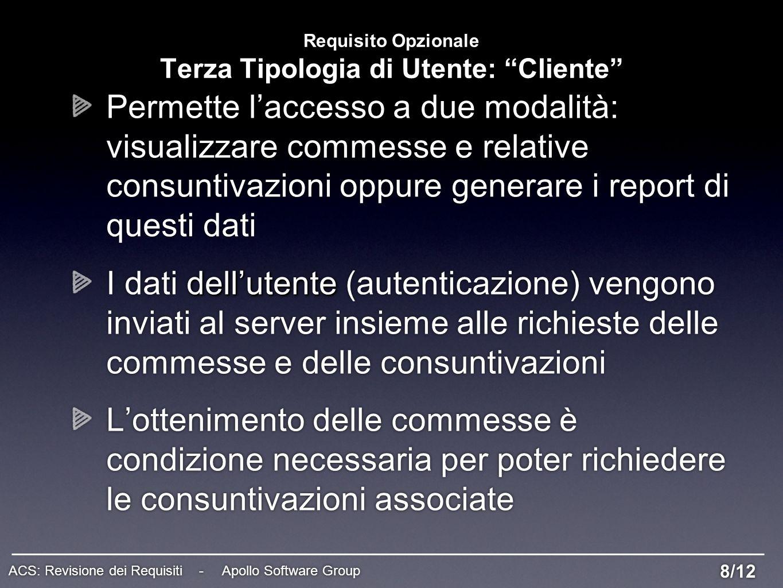 Requisito Opzionale Terza Tipologia di Utente: Cliente Permette laccesso a due modalità: visualizzare commesse e relative consuntivazioni oppure gener