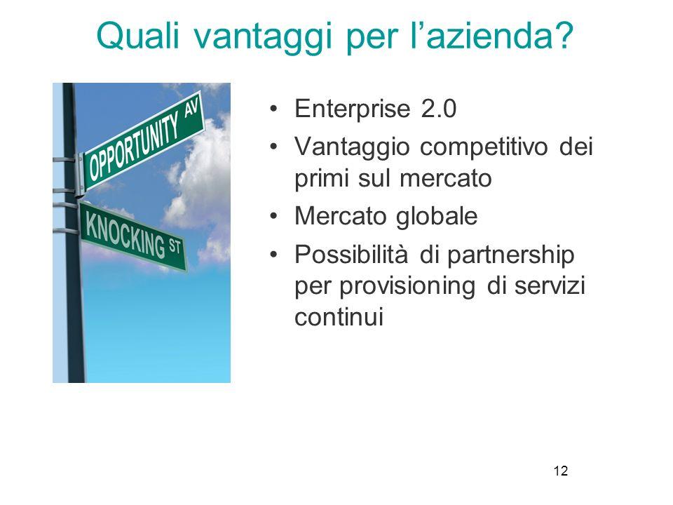 12 Enterprise 2.0 Vantaggio competitivo dei primi sul mercato Mercato globale Possibilità di partnership per provisioning di servizi continui Quali vantaggi per lazienda