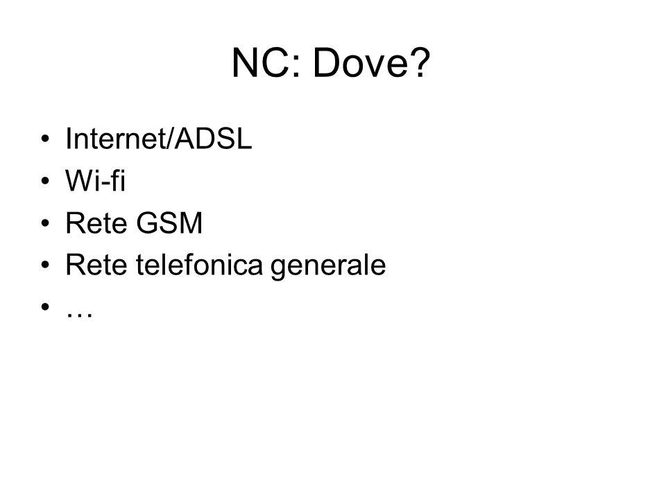 NC: Dove Internet/ADSL Wi-fi Rete GSM Rete telefonica generale …
