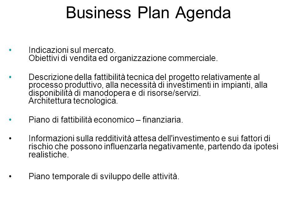 Business Plan Agenda Indicazioni sul mercato. Obiettivi di vendita ed organizzazione commerciale.