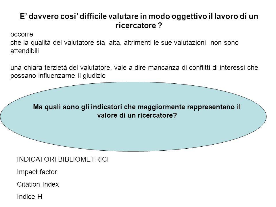 Ma quali sono gli indicatori che maggiormente rappresentano il valore di un ricercatore? E davvero cosi difficile valutare in modo oggettivo il lavoro