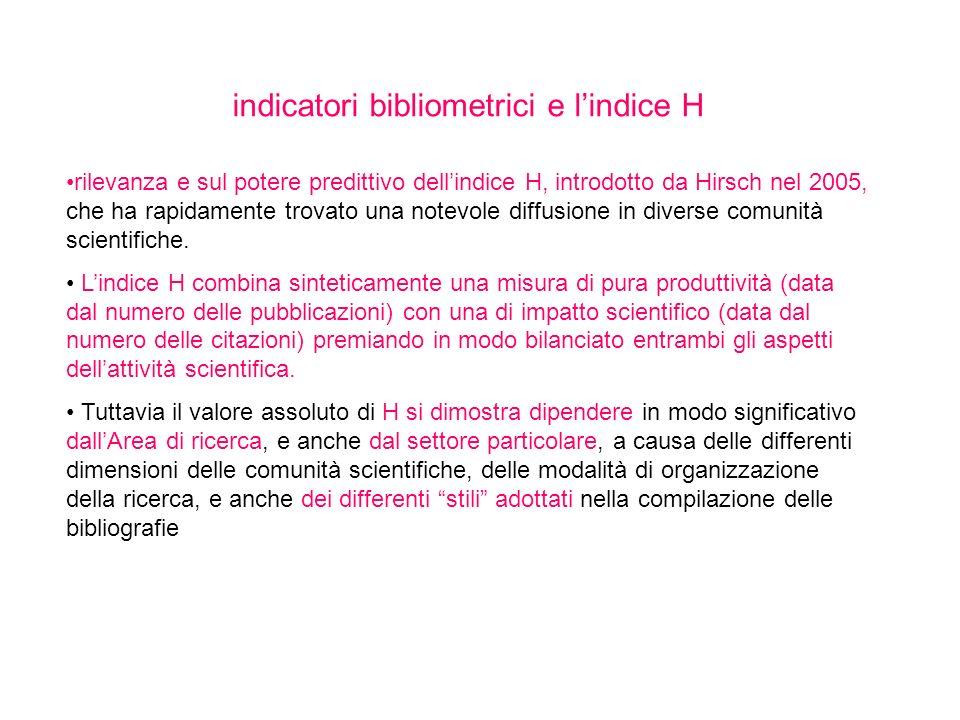 indicatori bibliometrici e lindice H rilevanza e sul potere predittivo dellindice H, introdotto da Hirsch nel 2005, che ha rapidamente trovato una not