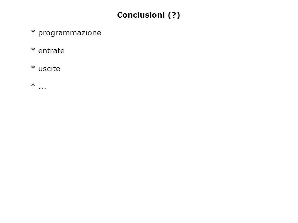 Conclusioni ( ) * programmazione * entrate * uscite *...