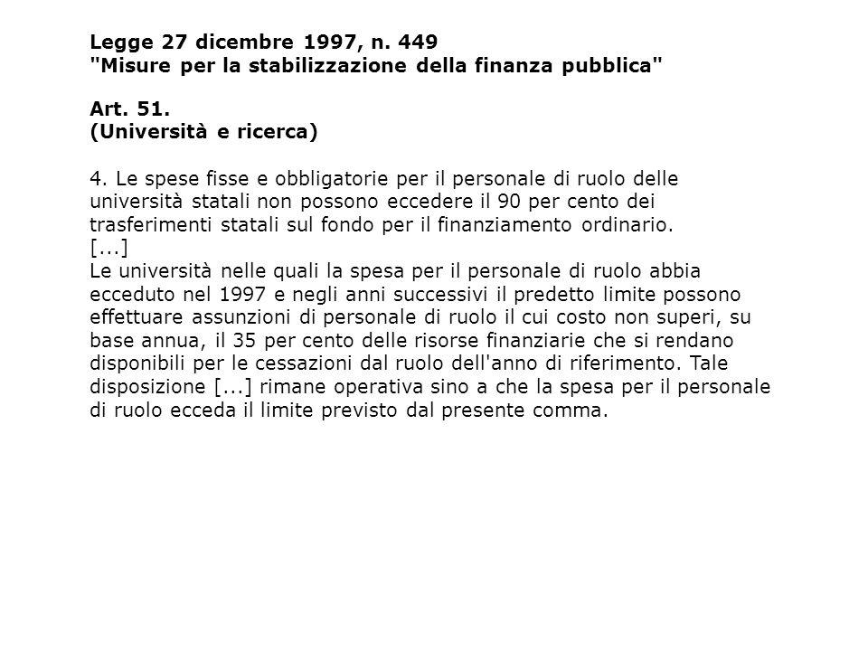 Legge 27 dicembre 1997, n. 449 Misure per la stabilizzazione della finanza pubblica Art.