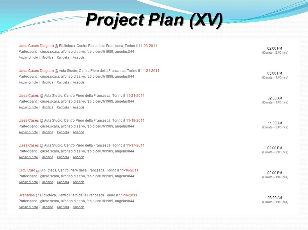 Project Plan (XV)