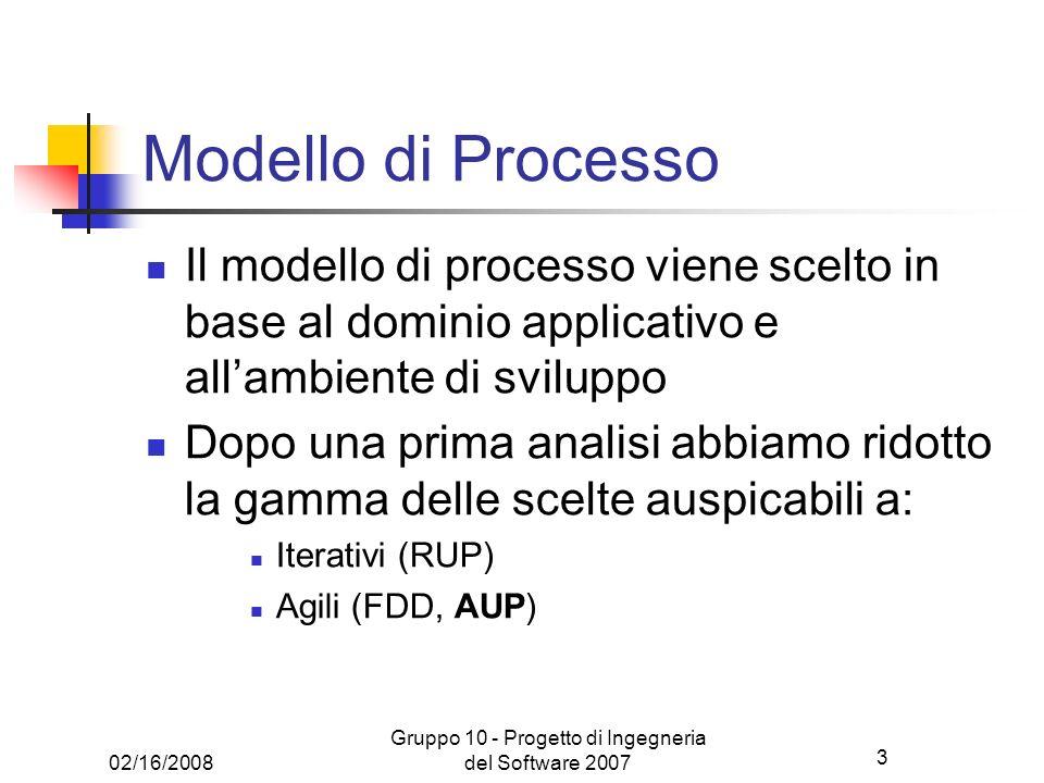 3 02/16/2008 Gruppo 10 - Progetto di Ingegneria del Software 2007 Modello di Processo Il modello di processo viene scelto in base al dominio applicati
