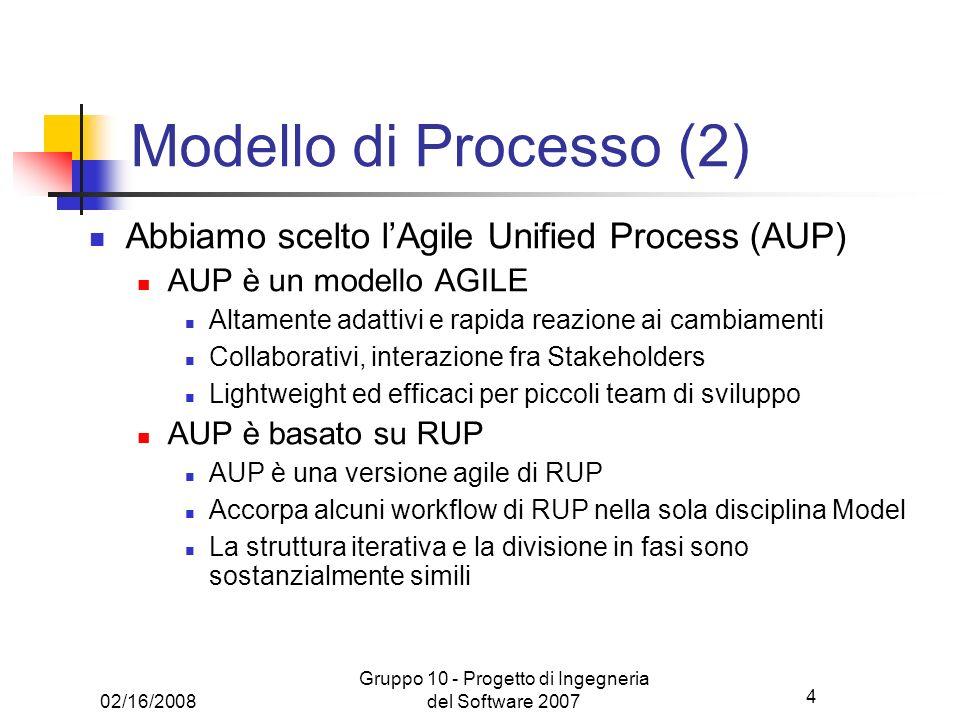4 02/16/2008 Gruppo 10 - Progetto di Ingegneria del Software 2007 Modello di Processo (2) Abbiamo scelto lAgile Unified Process (AUP) AUP è un modello