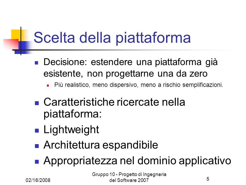 5 02/16/2008 Gruppo 10 - Progetto di Ingegneria del Software 2007 Scelta della piattaforma Decisione: estendere una piattaforma già esistente, non pro
