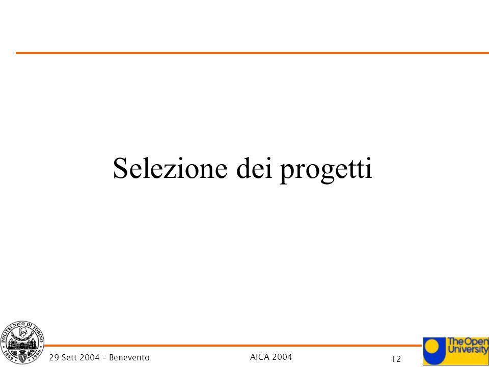 AICA 2004 12 29 Sett 2004 – Benevento Selezione dei progetti