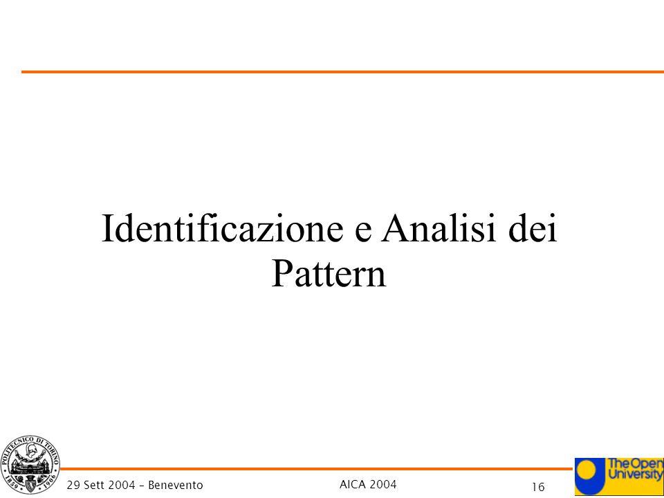 AICA 2004 16 29 Sett 2004 – Benevento Identificazione e Analisi dei Pattern