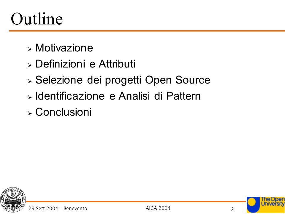AICA 2004 2 29 Sett 2004 – Benevento Outline Motivazione Definizioni e Attributi Selezione dei progetti Open Source Identificazione e Analisi di Pattern Conclusioni