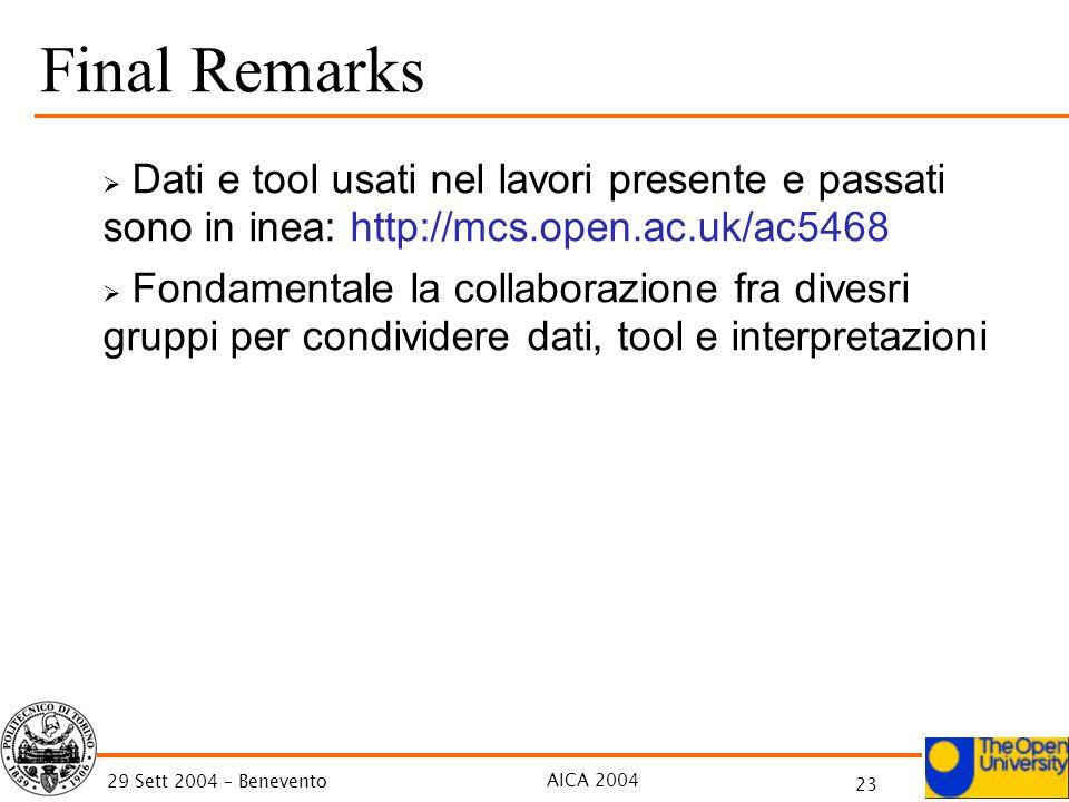 AICA 2004 23 29 Sett 2004 – Benevento Final Remarks Dati e tool usati nel lavori presente e passati sono in inea: http://mcs.open.ac.uk/ac5468 Fondame